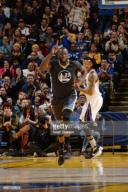 Draymond Green of the Golden State Warriors reacts to a play during the game against the Sacramento Kings on November 28 2015 at ORACLE Arena in...