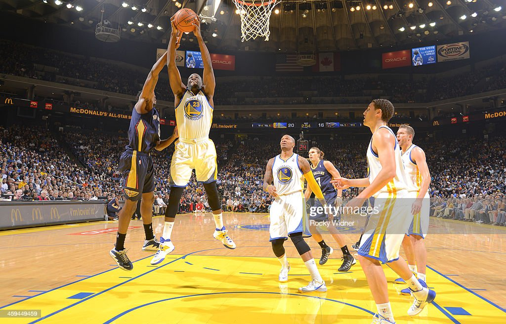 <a gi-track='captionPersonalityLinkClicked' href=/galleries/search?phrase=Draymond+Green&family=editorial&specificpeople=5628054 ng-click='$event.stopPropagation()'>Draymond Green</a> #23 of the Golden State Warriors rebounds against <a gi-track='captionPersonalityLinkClicked' href=/galleries/search?phrase=Al-Farouq+Aminu&family=editorial&specificpeople=5042446 ng-click='$event.stopPropagation()'>Al-Farouq Aminu</a> #0 of the New Orleans Pelicans on December 17, 2013 at Oracle Arena in Oakland, California.