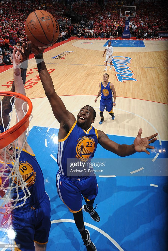 Draymond Green #23 of the Golden State Warriors rebounds against the Los Angeles Clippers in Game Seven of the Western Conference Quarterfinals during the 2014 NBA Playoffs at Staples Center on May 3, 2014 in Los Angeles, California.