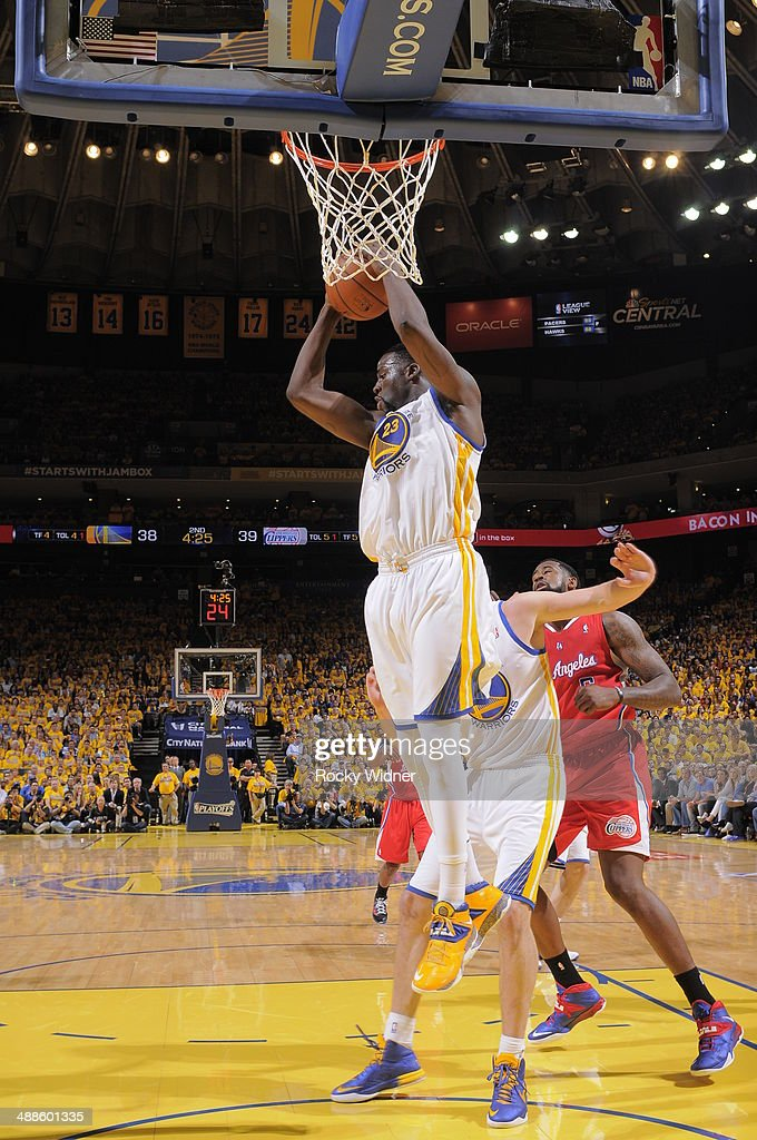 Draymond Green #23 of the Golden State Warriors rebounds against the Los Angeles Clippers in Game Six of the Western Conference Quarterfinals during the 2014 NBA Playoffs at Oracle Arena on May 1, 2014 in Oakland, California.