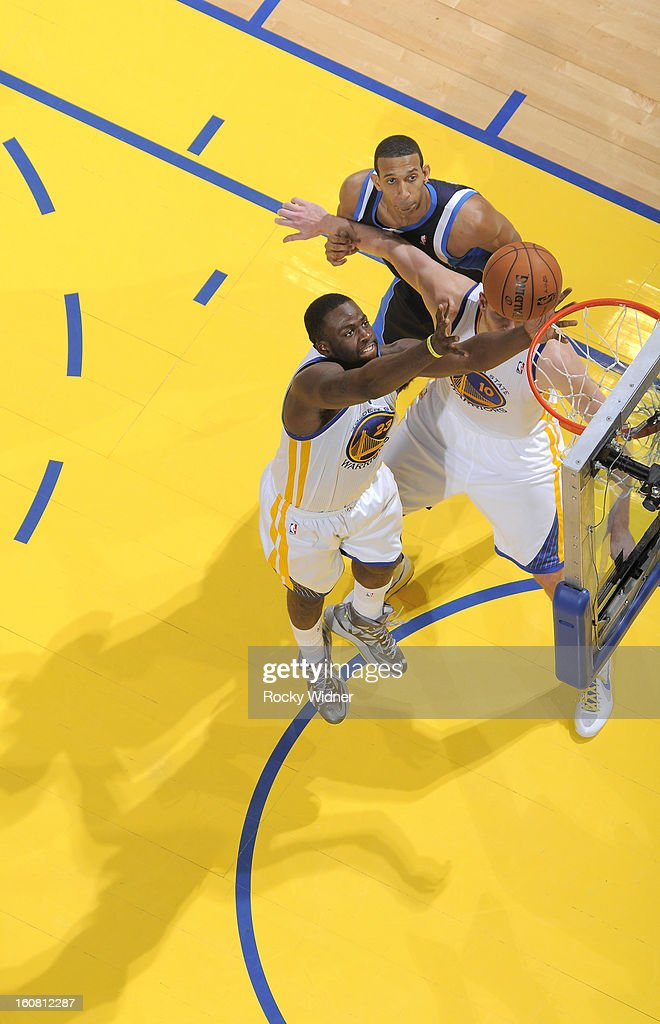 <a gi-track='captionPersonalityLinkClicked' href=/galleries/search?phrase=Draymond+Green&family=editorial&specificpeople=5628054 ng-click='$event.stopPropagation()'>Draymond Green</a> #23 of the Golden State Warriors rebounds against the Dallas Mavericks on January 31, 2013 at Oracle Arena in Oakland, California.