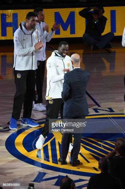 Draymond Green of the Golden State Warriors receives his ring during the NBA Championship ring ceremony on October 17 2017 at ORACLE Arena in Oakland...
