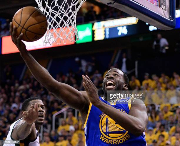 Draymond Green of the Golden State Warriors scores a basket in the second half of their 10291 win over the Utah Jazz in Game Three of the Western...