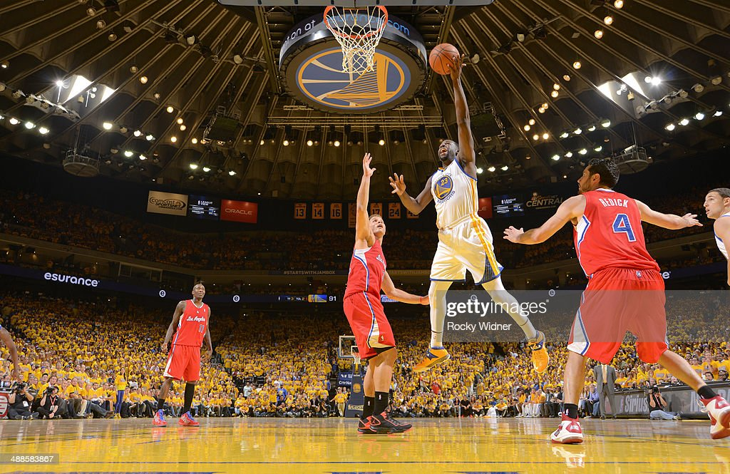 Draymond Green #23 of the Golden State Warriors shoots a layup against the Los Angeles Clippers in Game Six of the Western Conference Quarterfinals during the 2014 NBA Playoffs at Oracle Arena on May 1, 2014 in Oakland, California.