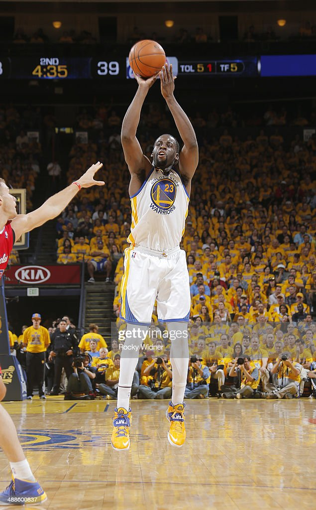 Draymond Green #23 of the Golden State Warriors shoots a three pointer against the Los Angeles Clippers in Game Six of the Western Conference Quarterfinals during the 2014 NBA Playoffs at Oracle Arena on May 1, 2014 in Oakland, California.