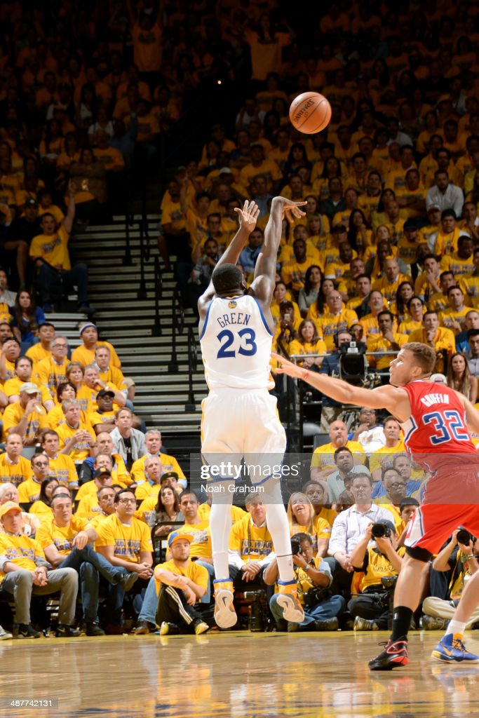 Draymond Green #23 of the Golden State Warriors shoots against the Los Angeles Clippers in Game Six of the Western Conference Quarterfinals during the NBA Playoffs at Oracle Arena on May 1, 2014 in Oakland, California.