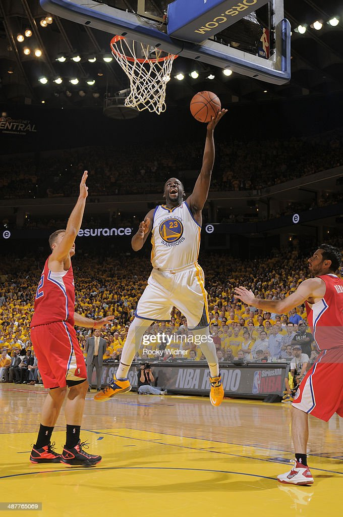 Draymond Green #23 of the Golden State Warriors shoots against the Los Angeles Clippers in Game Six of the Western Conference Quarterfinals during the 2014 NBA Playoffs at Oracle Arena on May 1, 2014 in Oakland, California.