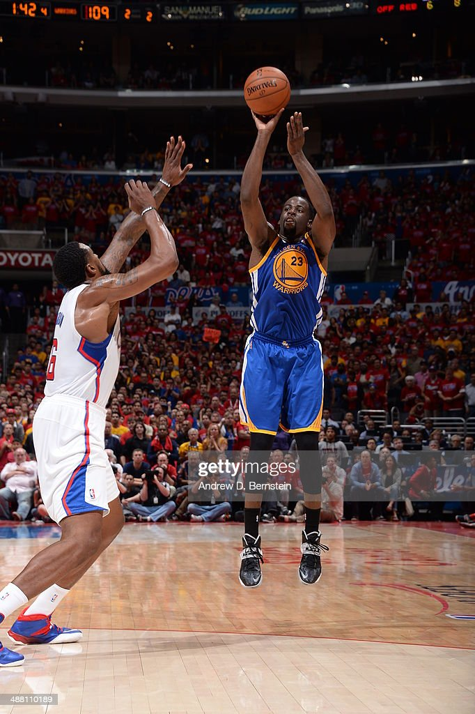 Draymond Green #23 of the Golden State Warriors shoots against the Los Angeles Clippers in Game Seven of the Western Conference Quarterfinals during the 2014 NBA Playoffs at Staples Center on May 3, 2014 in Los Angeles, California.