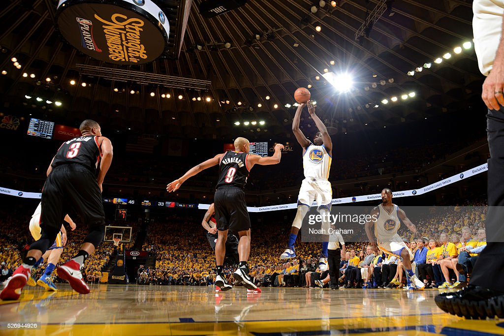 Draymond Green #23 of the Golden State Warriors shoots the ball during the game against Gerald Henderson #9 of the Portland Trail Blazers in Game One of the Western Conference Semifinals during the 2016 NBA Playoffs on May 1, 2016 at ORACLE Arena in Oakland, California.