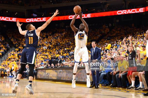 Draymond Green of the Golden State Warriors shoots the ball during the game against the Utah Jazz during Game Two of the Western Conference...
