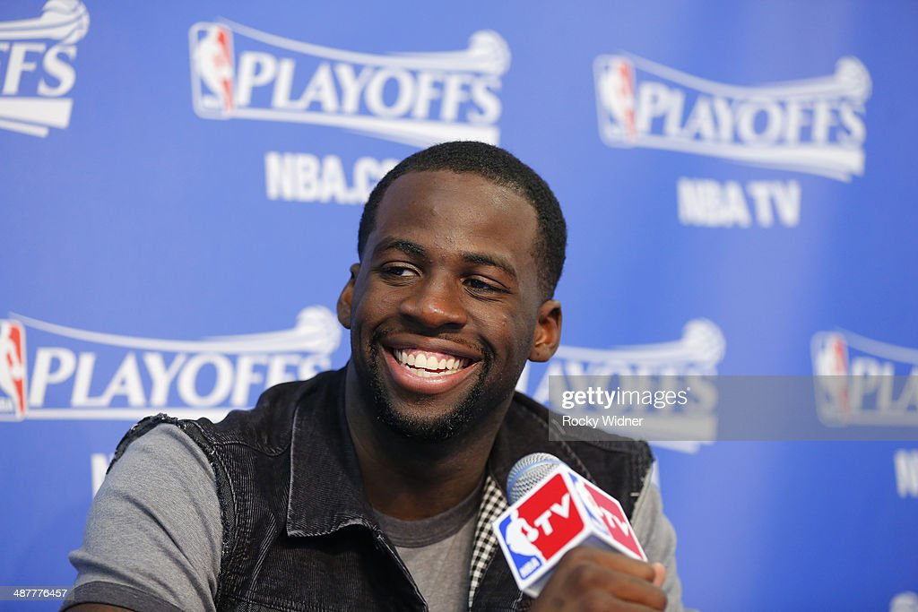 Draymond Green #23 of the Golden State Warriors speaks to the media after facing the Los Angeles Clippers in Game Six of the Western Conference Quarterfinals during the 2014 NBA Playoffs at Oracle Arena on May 1, 2014 in Oakland, California.