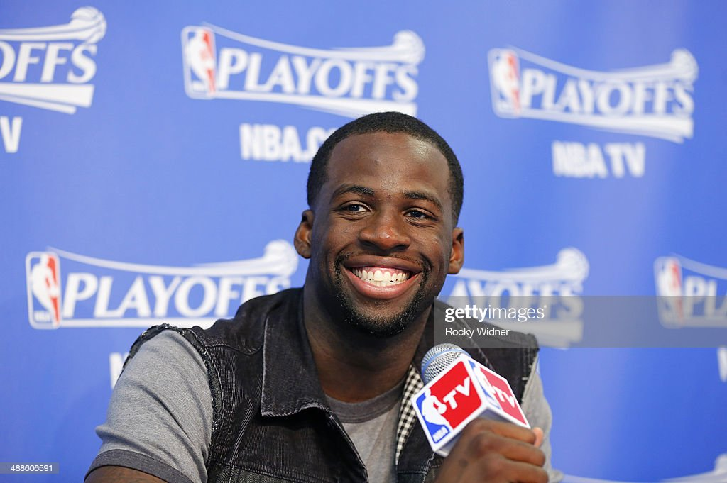 Draymond Green #23 of the Golden State Warriors speaks to the media after defeating the Los Angeles Clippers in Game Six of the Western Conference Quarterfinals during the 2014 NBA Playoffs at Oracle Arena on May 1, 2014 in Oakland, California.