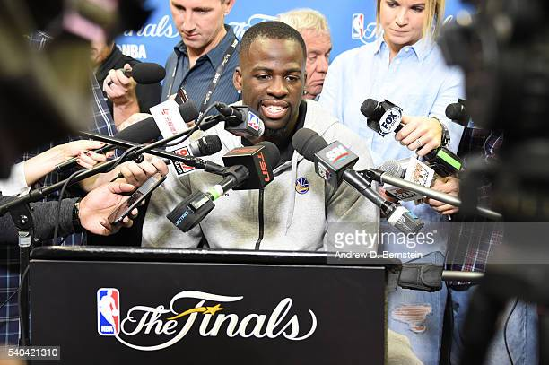 Draymond Green of the Golden State Warriors speaks to the media during practice and media availability as part of the 2016 NBA Finals on June 15 2016...