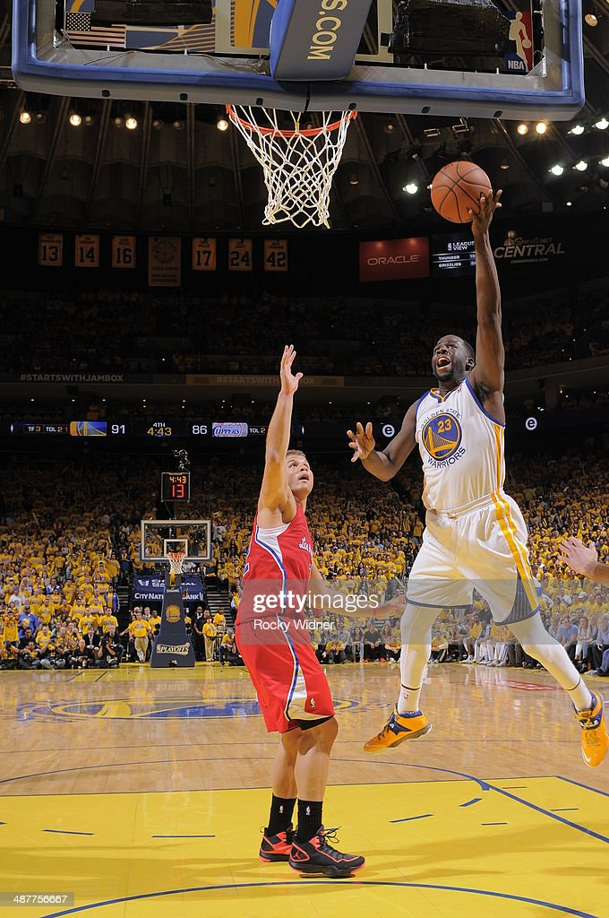Draymond Green #23 of the Golden State Warriors takes a shot against the Los Angeles Clippers in Game Six of the Western Conference Quarterfinals during the 2014 NBA Playoffs at Oracle Arena on May 1, 2014 in Oakland, California.