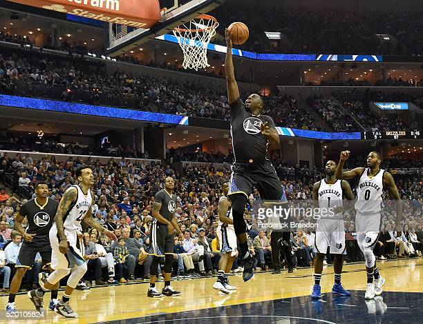 Draymond Green of the Golden State Warriors takes a shot against the Memphis Grizzlies during the second half at FedExForum on April 9 2016 in...