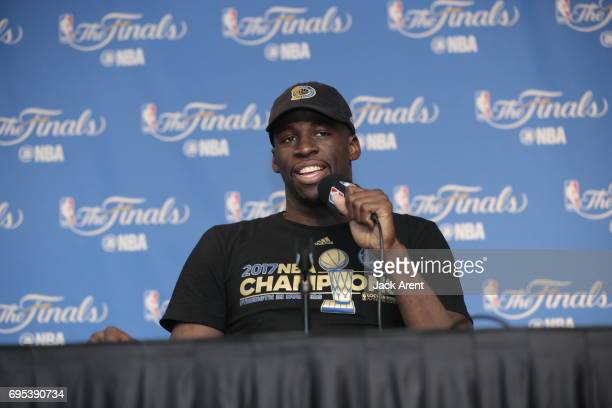 Draymond Green of the Golden State Warriors talks to the media after winning the NBA Championship against the Golden State Warriors in Game Five of...