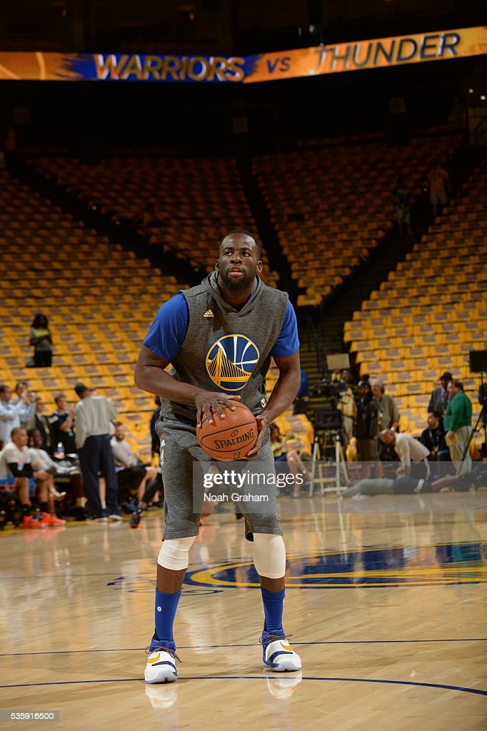 Draymond Green #23 of the Golden State Warriors warms up before the game against the Oklahoma City Thunder in Game Seven of the Western Conference Finals during the 2016 NBA Playoffs on May 30, 2016 at ORACLE Arena in Oakland, California.