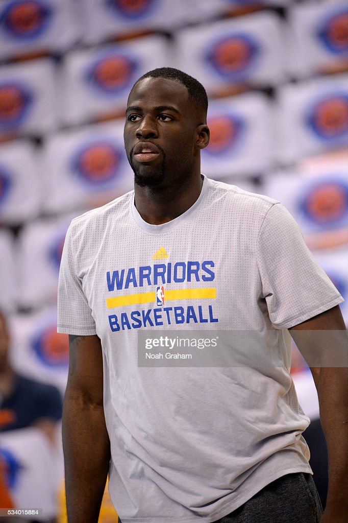 <a gi-track='captionPersonalityLinkClicked' href=/galleries/search?phrase=Draymond+Green&family=editorial&specificpeople=5628054 ng-click='$event.stopPropagation()'>Draymond Green</a> #23 of the Golden State Warriors warms up prior to Game Four of the Western Conference Finals between the Golden State Warriors and Oklahoma City Thunder during the 2016 NBA Playoffs on May 24, 2016 at Chesapeake Energy Arena in Oklahoma City, Oklahoma.