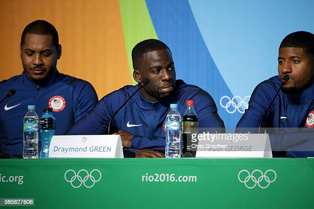 Draymond Green of the United States speaks with the media during a press conference at the Main Press Centre ahead of the Rio 2016 Olympic Games on...