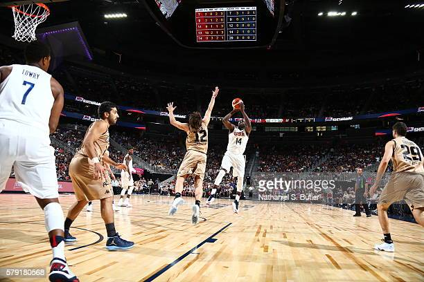 Draymond Green of the USA Basketball Men's National Team shoots against Marcos Nicolas Delia of Argentina on July 22 2016 at TMobile Arena in Las...