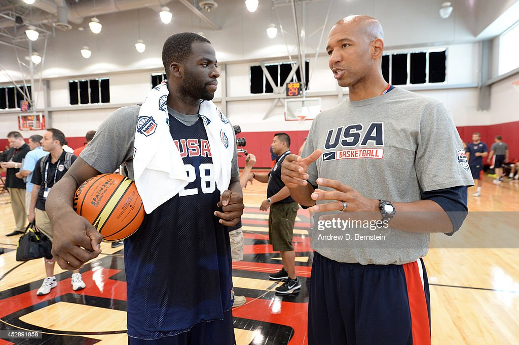 Draymond Green #28 of the USA Basketball Men's National Team talks to assistant coach Monty Williams during practice at the Mendenhall Center at the University of Nevada, Las Vegas on July 28, 2014 in Las Vegas, Nevada.