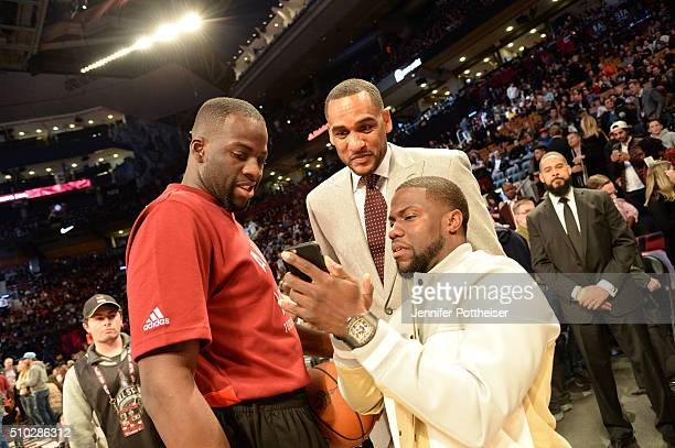 Draymond Green of the West AllStars chats with Comedian Kevin Hart and NBA Legend Steve Smith prior to the NBA AllStar game on February 14 2016 at...