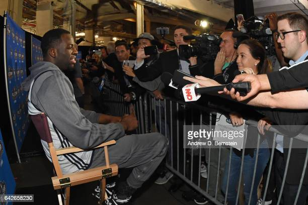 Draymond Green of the Western Conference AllStar Team talks to the media during the 2017 NBA AllStar Practice as part of 2017 AllStar Weekend at the...