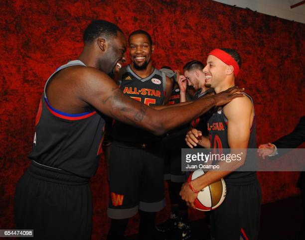 Draymond Green Stephen Curry and Kevin Durant of the Western Conference AllStar Team pose for a photo before the 2017 NBA AllStar Game on February 19...