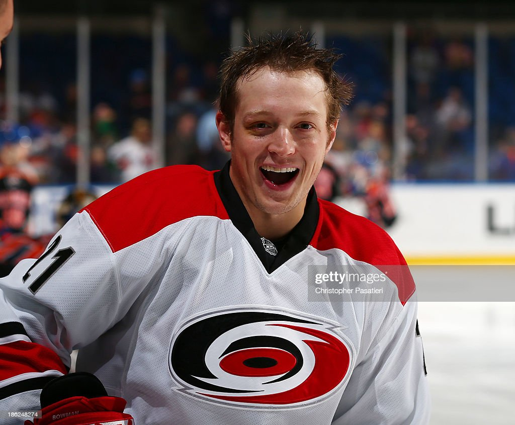 <a gi-track='captionPersonalityLinkClicked' href=/galleries/search?phrase=Drayson+Bowman&family=editorial&specificpeople=4111563 ng-click='$event.stopPropagation()'>Drayson Bowman</a> #21 of the Carolina Hurricanes smiles prior to the game against the New York Islanders on October 19, 2013 at the Nassau Veterans Memorial Coliseum in Uniondale, New York.