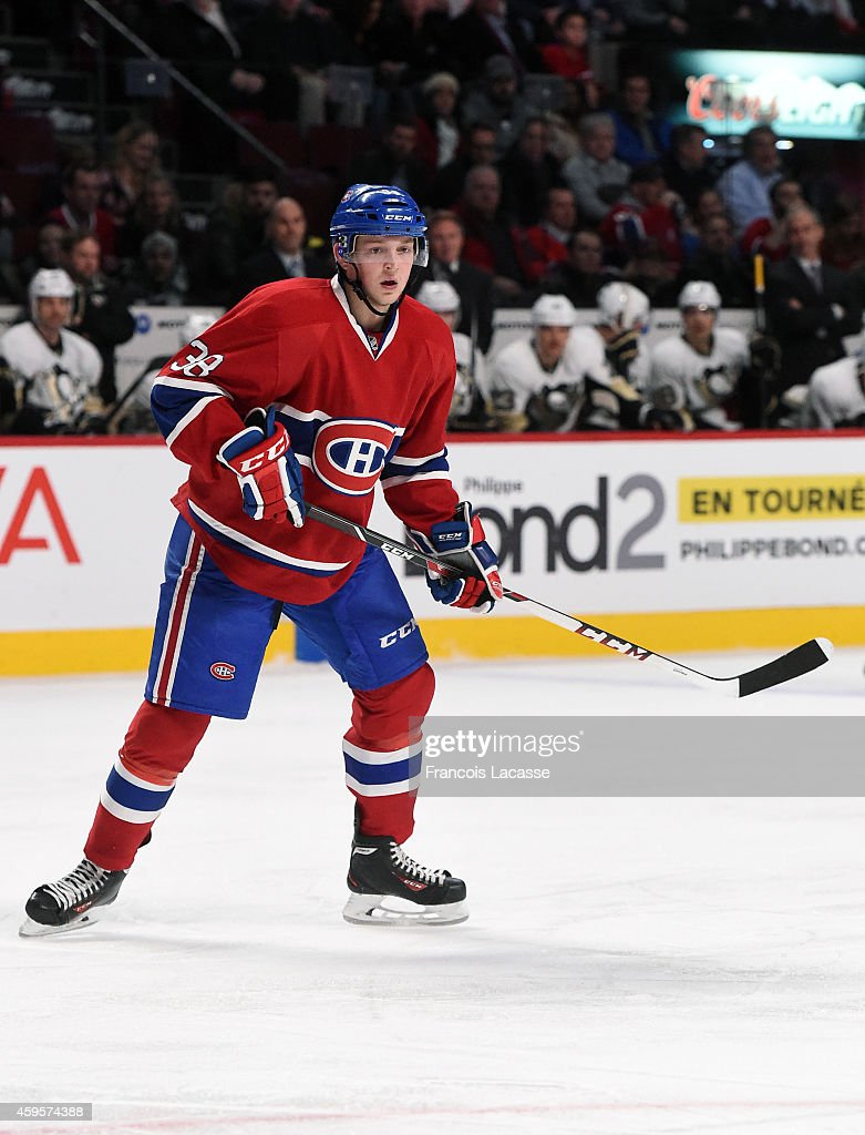 <a gi-track='captionPersonalityLinkClicked' href=/galleries/search?phrase=Drayson+Bowman&family=editorial&specificpeople=4111563 ng-click='$event.stopPropagation()'>Drayson Bowman</a> #38 of the Montreal Canadiens skates for position against the Pittsburgh Penguins in the NHL game at the Bell Centre on November 18, 2014 in Montreal, Quebec, Canada.