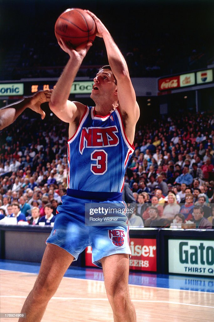 ff48a412781 ... Drazen Petrovic 3 of hte New Jersey Nets shoots the ball against the Sacramento  Kings ...