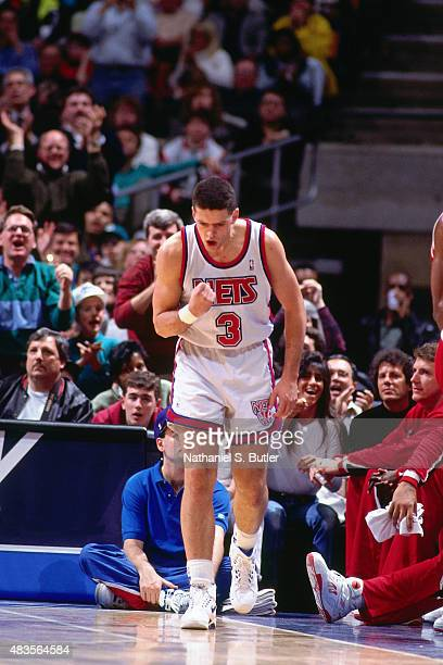 Drazen Petrovic of the New Jersey Nets celebrates during a game circa 1991 at Brendan Byrne Arena in East Rutherford NJ NOTE TO USER User expressly...