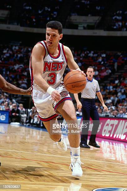 Drazen Petrovic of the New Jersey Nets dribbles circa 1991 at the Brendan Byrne Arena in East Rutherford New Jersey NOTE TO USER User expressly...