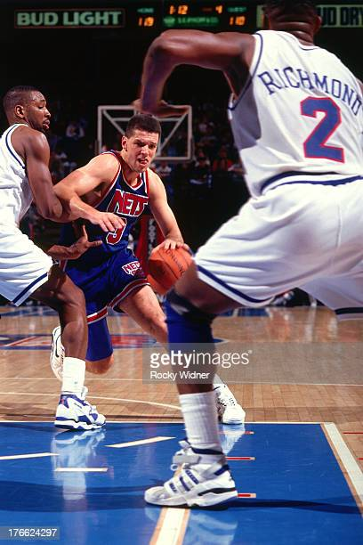Drazen Petrovic of the New Jersey Nets dribbles the ball against the Sacramento Kings on January 28 1992 at Arco Arena in Sacramento California NOTE...