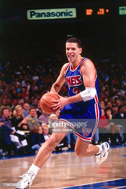 Drazen Petrovic of the New Jersey Nets dribbles the ball against the Sacramento Kings on November 28 1992 at Arco Arena in Sacramento California NOTE...