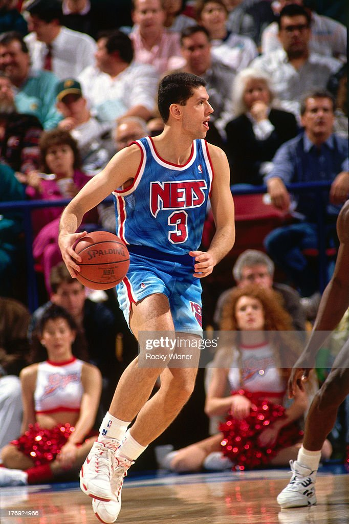 2e87a815fe4 ... Drazen Petrovic 3 of the New Jersey Nets dribbles the ball against the Sacramento  Kings ...