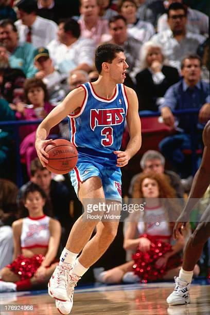 Drazen Petrovic of the New Jersey Nets dribbles the ball against the Sacramento Kings on January 28 1991 at Arco Arena in Sacramento California NOTE...
