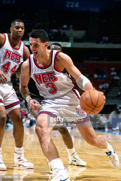 Drazen Petrovic of the New Jersey Nets drives to the basket circa 1991 at Madison Square Garden in New York NOTE TO USER User expressly acknowledges...