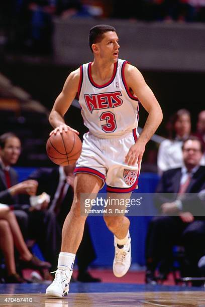 Drazen Petrovic of the New Jersey Nets handles the ball circa 1993 at the Continental Airlines Arena in East Rutherford New Jersey NOTE TO USER User...