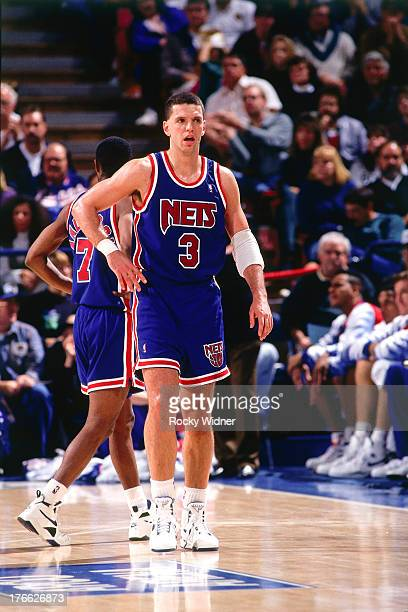 Drazen Petrovic of the New Jersey Nets looks on against the Sacramento Kings on November 28 1992 at Arco Arena in Sacramento California NOTE TO USER...