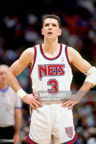 Drazen Petrovic of the New Jersey Nets looks on during a game played in 1992 at the Brendan Byrne Arena in East Rutherford New Jersey NOTE TO USER...