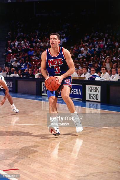 Drazen Petrovic of the New Jersey Nets shoots the ball against the Sacramento Kings on January 28 1992 at Arco Arena in Sacramento California NOTE TO...