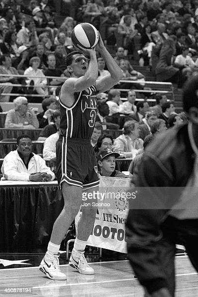 Drazen Petrovic shoots during the 1992 NBA AllStar 3 Point Contest at Orlando Arena on February 9 1992 in Orlando Florida NOTE TO USER User expressly...