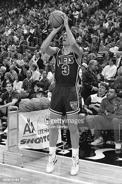 Drazen Petrovic takes a shot during the 1992 NBA AllStar 3 Point Contest at Orlando Arena on February 9 1992 in Orlando Florida NOTE TO USER User...