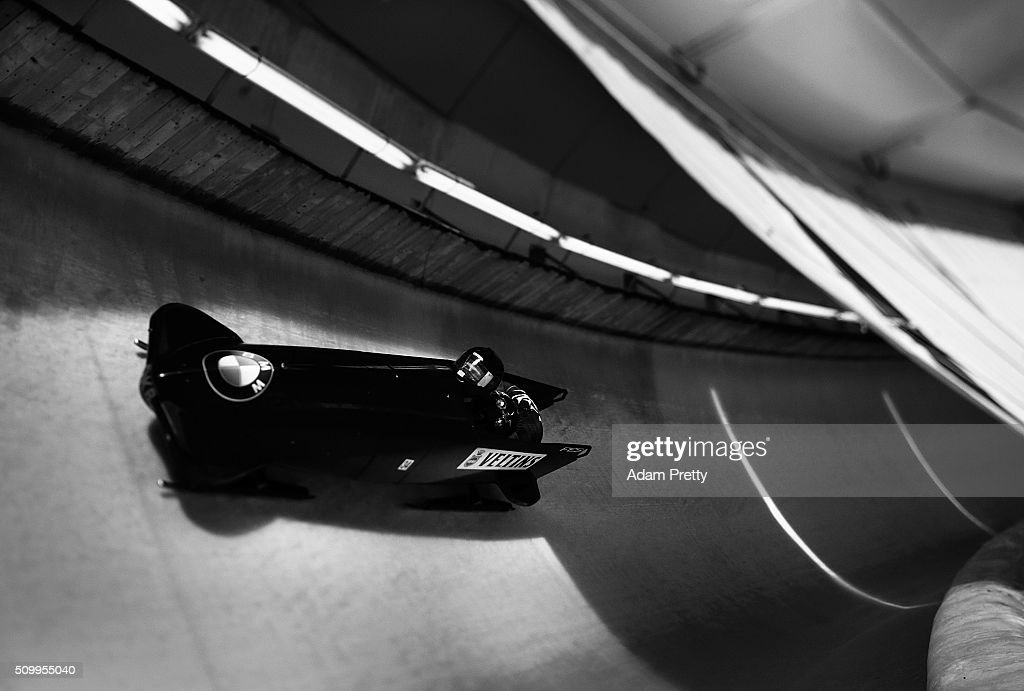 Drazen Silic and Benedikt Nikpalj of Croatia complete their second run during Day 2 of the IBSF World Championships for Bob and Skeleton at Olympiabobbahn Igls on February 13, 2016 in Innsbruck, Austria.