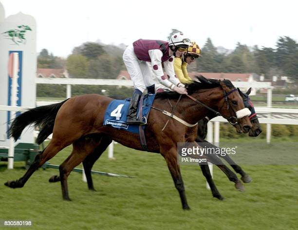 DrBrendler with jockey Fran Berry is the first past the post in the 2000 Guineas Trial at Leopardstown Ireland