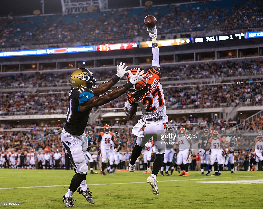 Dre Kirkpatrick of the Cincinnati Bengals breaks up a pass intended for Marqise Lee of the Jacksonville Jaguars in the end zone during the first half...