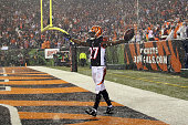 Dre Kirkpatrick of the Cincinnati Bengals celebrates after making an interception late in the fourth quarter of the game against the Denver Broncos...