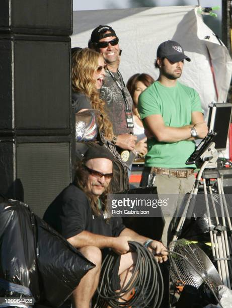 Drea De Matteo watches the Shooter Jennings performance from side stage at Rock'n The Rally Sunday August 5 2006