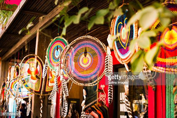 Dream catchers hanging outdoors